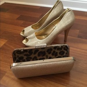 Gold sparkle cocktail shoes with matching clutch
